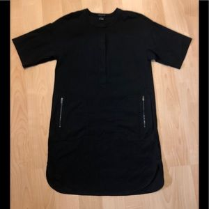 Theory black T shirt dress, with 2 side pockets